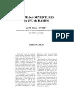 Etude Des Ouvertures Du Jeu de Dames - Adrien Couttet