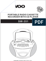 Daewoo SW-351 Portable Radio CD Cassette Sm