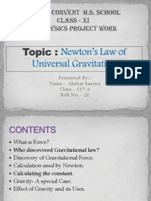 Physics Project | Newton's Law Of Universal Gravitation