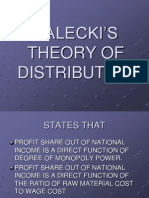 KALECKI'S THEORY OF DISTRIBUTION