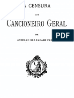 A Censura e o Cancioneiro Geral, por Braamcamp Freire