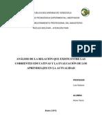 CORRIENTES EDUCATIVAS Y LA EVALUACIÓN