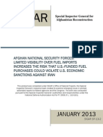 SIGAR Report on Afghanistan/Iran Fuel Imports