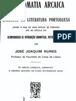 Crestomatia arcaica, por José Joaquim Nunes
