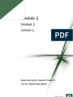 DERECHO PRIVADO VI (DERECHO DE FAMILIA) Módulo 1 - Lectura 1 - Relaciones familiares en General