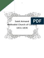 Saint Armand Methodist Church of Canada 1831-1836