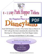 Disneyland 1 Day Park Hopper tickets (4) Drawing