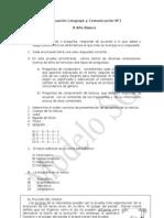 Prueba de Lenguaje y Comunicación N°1 para 8° Básico