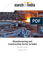 Manufacturing and Construction Sector in India Monthly Update October 2012