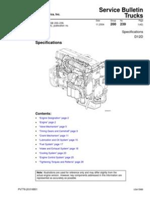 Volvo D12D Especificacion | Cylinder (Engine) | Gear