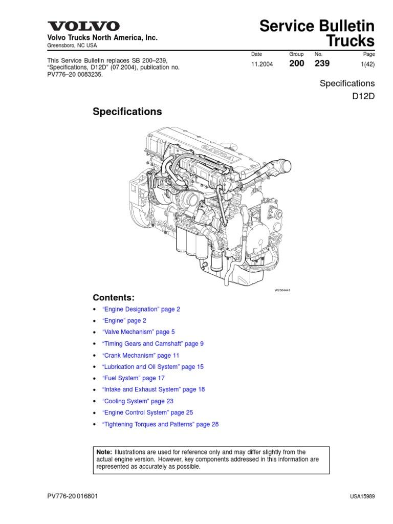 volvo d12d especificacion cylinder engine gear rh scribd com Manual Book Repair Manuals