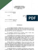 Metropolitan Trial Court Decision on Criminal Case No. 387435-SA People of the Philippines (plaintiff) versus Carlos Celdran y Pamintuan
