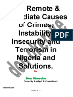 The Remote and Immediate Cause of Insecurity, Instability and Terrorism in Nigeria and Solutions