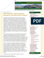 Ethnography Observational Research and Narrative Inquiry