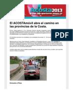 El ACOSTAmóvil abre el camino en las provincias de la Costa
