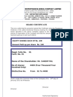 Share Certificate format