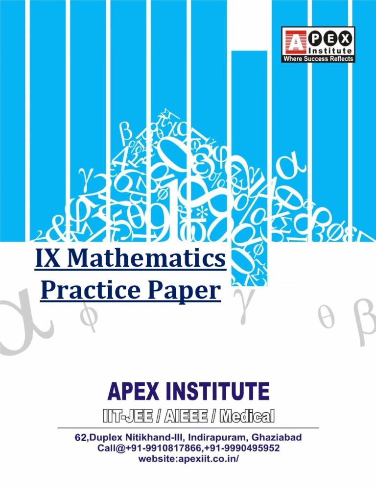 Class IX-Mathematics-C.B.S.E.-Practice-Paper | Cartesian Coordinate ...