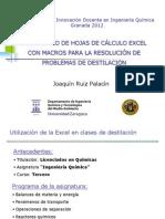 Desarrollo de hojas de cálculo excel con macros para la resolución de problemas de destilación