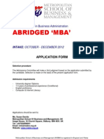 Abridged MBA Form
