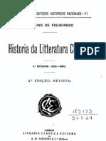 História da Literatura [Portuguesa] Clássica, 1º época (1502-1580), vol. 1,  por Fidelino Figueiredo