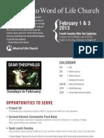 Church Bulletin for February 1 & 3, 2013