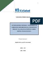 Premio Kaelin Lactancia Materna Continuada y Entrenamiento En