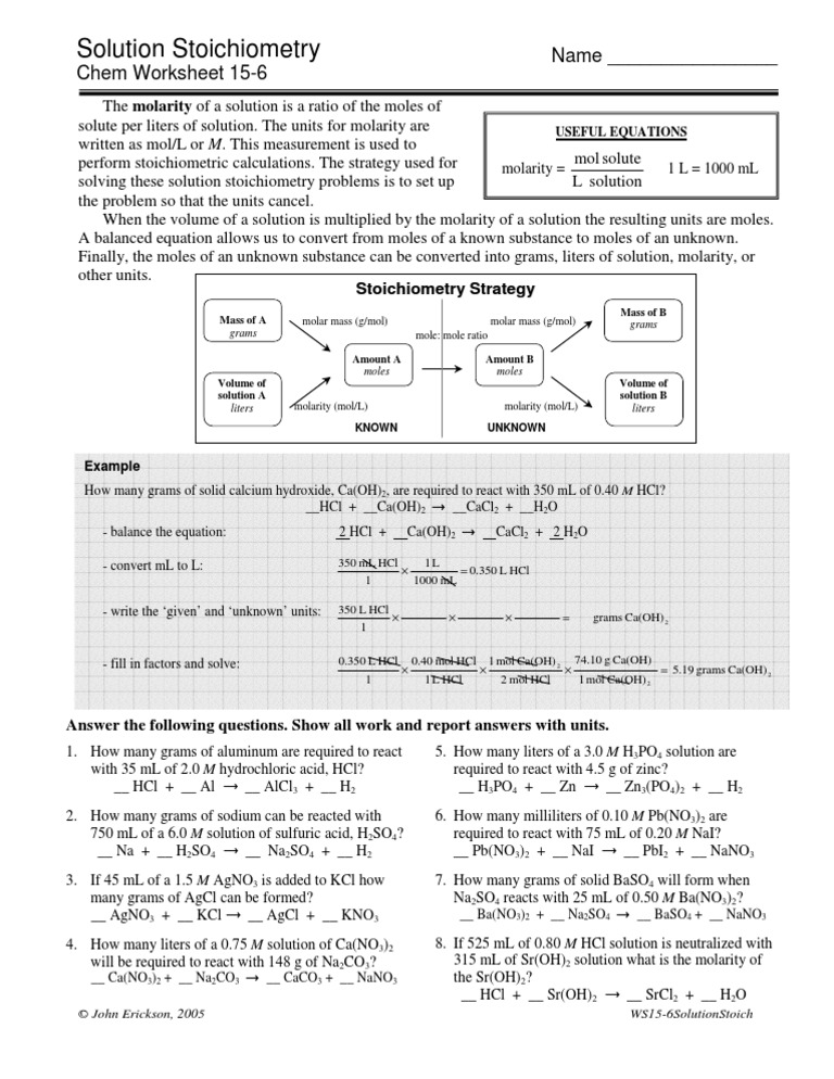 Solution Stoichiometry Worksheet ap solution stoichiometry – Stoichiometry Worksheet with Answers