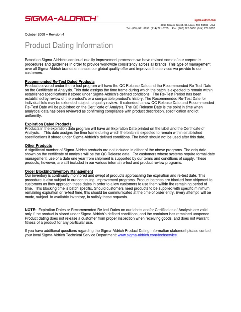 product dating information sigma aldrich