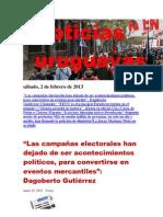 Noticias Uruguayas sábado 2 de febrero del 2013