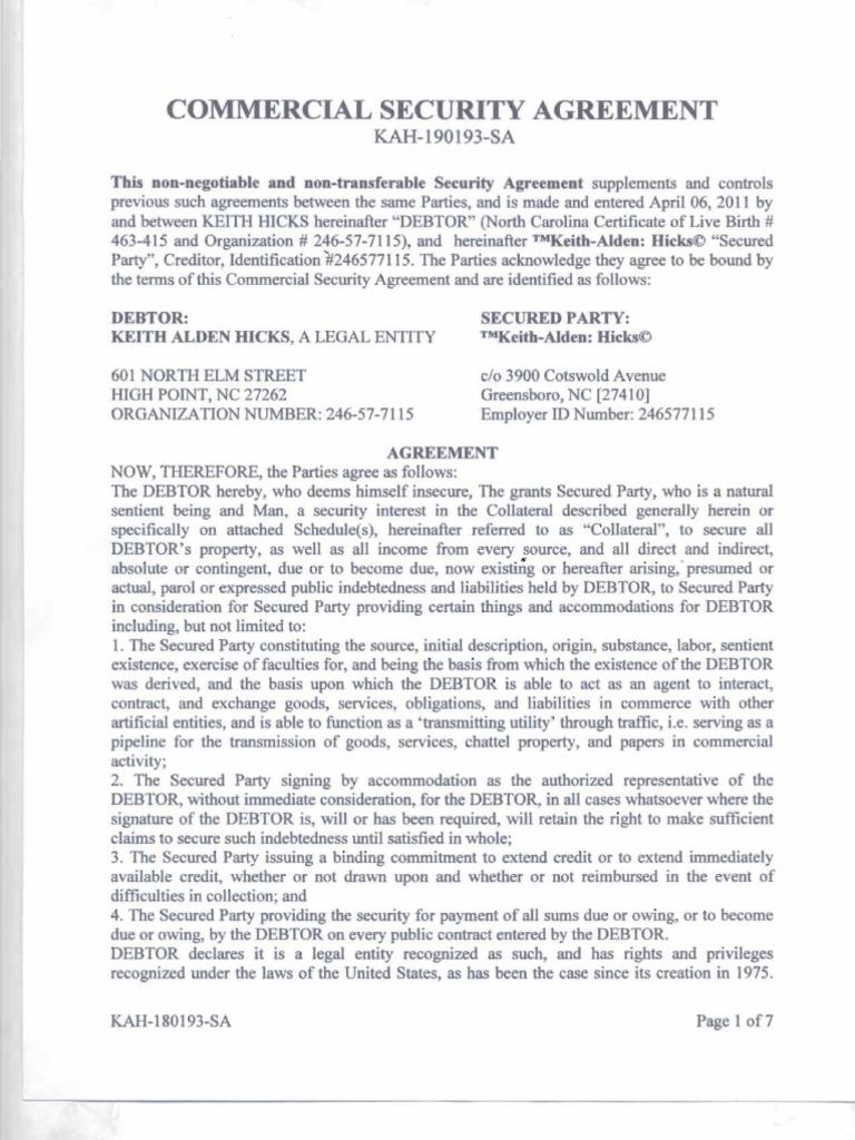 Commercial security agreement security interest lien platinumwayz