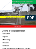 Assessment of malaria Transmission During Bega 2012/13 in terms of climate Suitability
