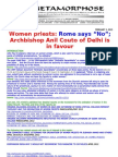 ARCHBISHOP OF DELHI SUPPORTS WOMENS ORDINATION