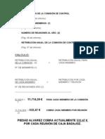 RETRIBUCIÓN PIEDAD ÁLVAREZ EN COMISIÓN DE CONTROL DE CAJA DE BADAJOZ