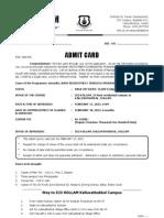 Admit Card Kalluvathukkal