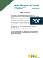 NPN 9 GHz wideband transistor BFG540