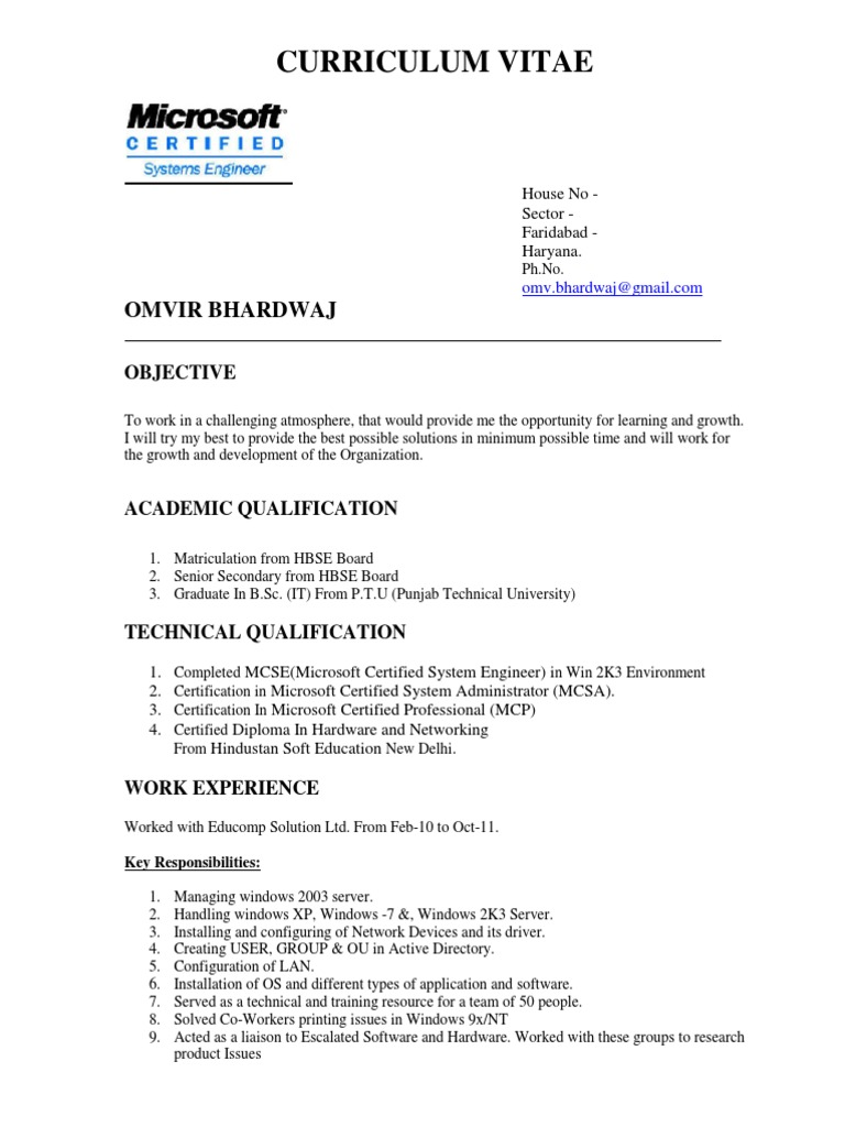 Resume sample microsoft certified professional microsoft windows 1betcityfo Image collections