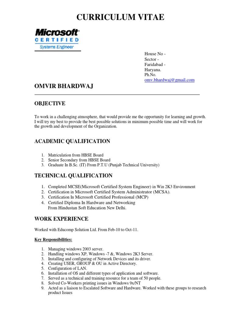 Resume sample microsoft certified professional microsoft windows 1betcityfo Images
