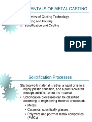 FOUNDRY AND CASTING OPERATION PPT   Casting (Metalworking