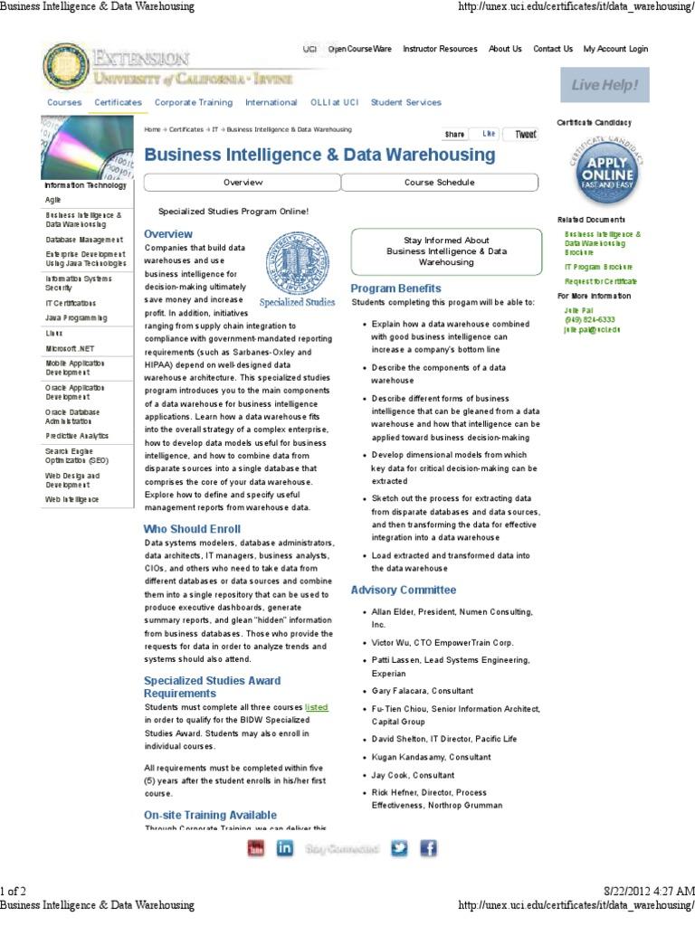 Uc Irvine Data Warehouse Business Intelligence