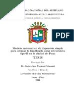 Tesis Justo - Modelo matem´atico de dispersi´on simplepara estimar la irradiancia solar ultravioletatipo-B en la ciudad de Puno