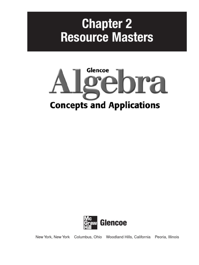 Workbooks glencoe biology workbook : Glencoe Algebra, chapter 2 | Cartesian Coordinate System | Integer