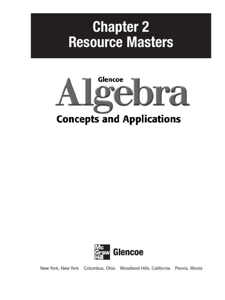 Glencoe Algebra, chapter 2 | Cartesian Coordinate System | Integer