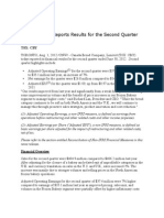 Canada Bread Reports Results for the Second Quarter 2012