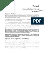 Resumen I. Sistemas Políticos y Formas de Gobierno