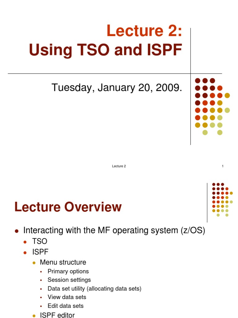 New Lecture 2 - Using TSO and ISPF | Command Line Interface