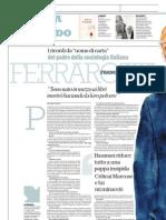 Intervista a FRANCO FERRAROTTI, Padre Della Sociologia Italiana - La Repubblica 27.01.2013