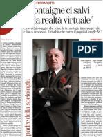 Un Popolo Di Frenetici Informatissimi Idioti, Di Franco Ferrarotti - La Stampa TuttoLibri 02.02.2013