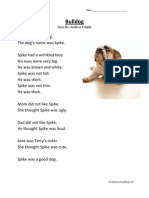 Bulldog First Grade Reading Comprehension Worksheet
