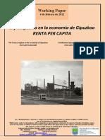 El franquismo en la economía de Gipuzkoa. RENTA PER CAPITA (Es) The Franco regime in the economy of Gipuzkoa. PER CAPITA INCOME (Es) Frankismoa Gipuzkoako ekonomian. PER CAPITA ERRENTA (Es)