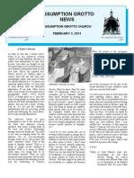 Assumption Grotto Bulletin Feb 3, 2013